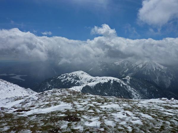 Snow in Plastiras Lake Mountains